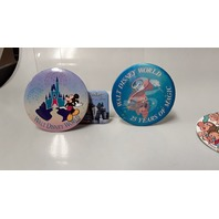 "Disney Button Pins - 5 - All different.  3"" Dia. on 4 of them and 1 is 1 1/2 x 2 1/2""."