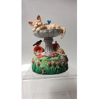 "San Francisco Music Box Co - Cat in Bird Bath - ""Green green grass of Home"""
