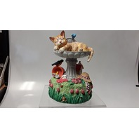 "San Francisco Music Box Co - Cat in Bird Bath - ""Green green grass of Home"""