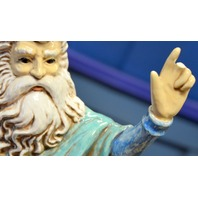 Ceramic Figure of Moses Standing on Rock Menorah holding the Ten Commandments
