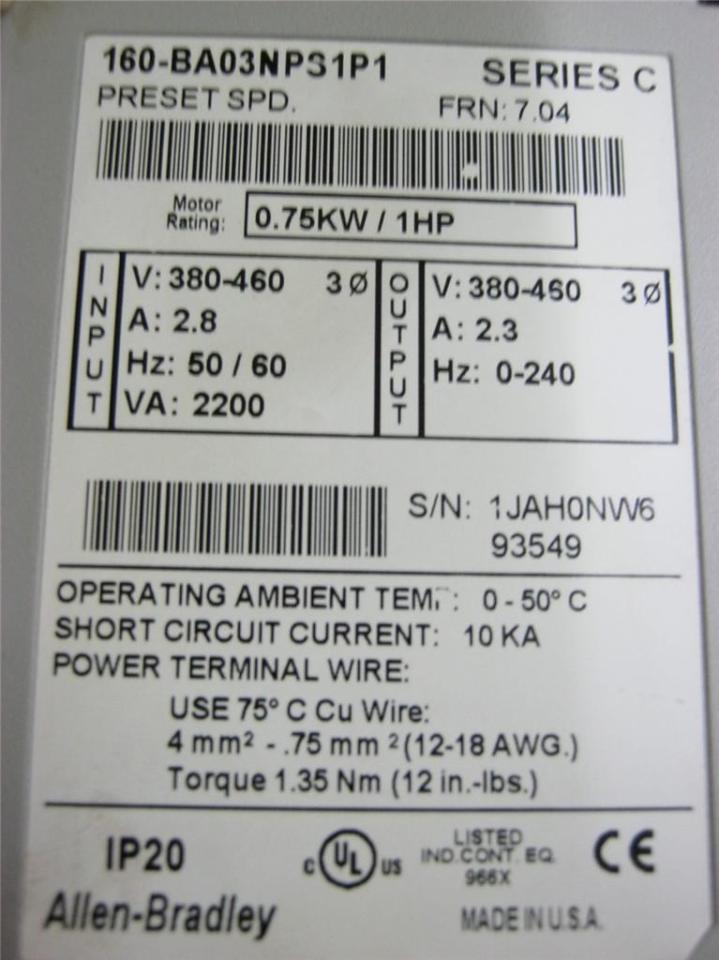 Allen Bradley 160-BA03NPS1P1 Series C Speed Controller 380 - 460 Volt 3  Phase