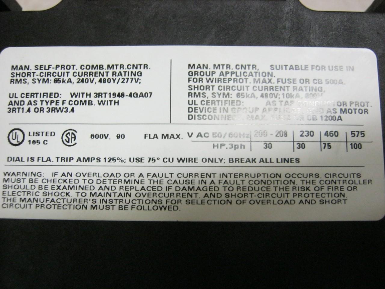 SIEMENS 3RV1041-4LA10 70-90A Manual Motor Starter/Circuit Breaker