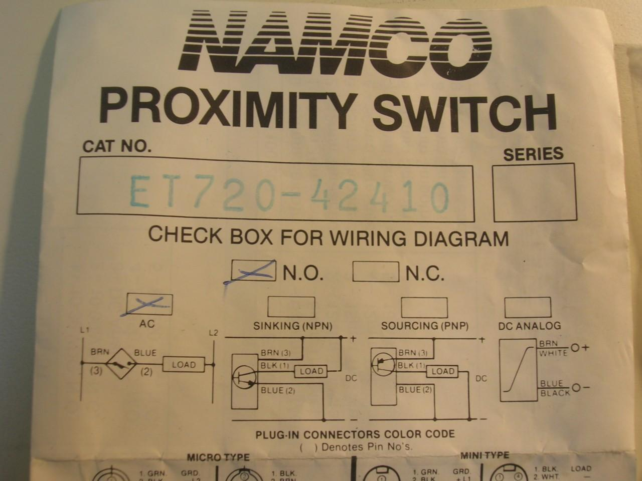 Namco Et720 42410 Proximity Switch Ac New Daves Industrial Switches Dc