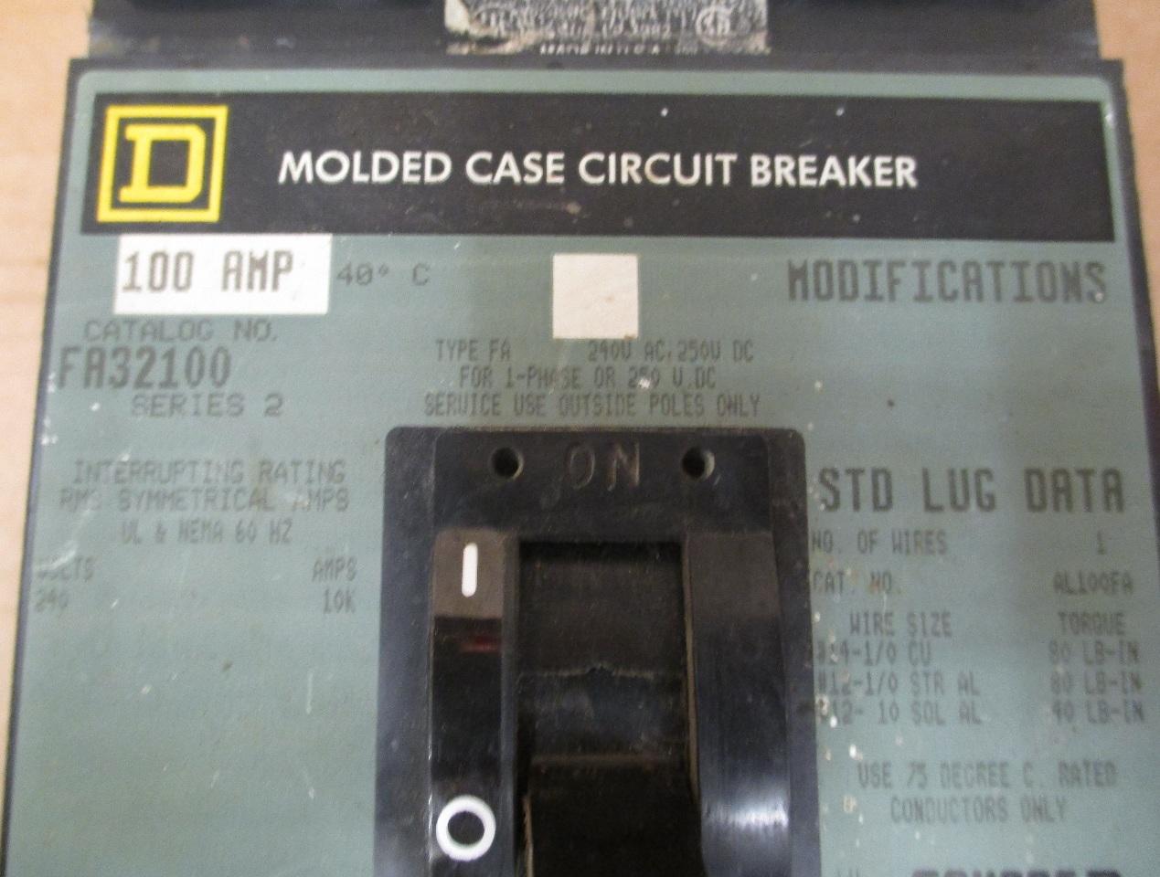 Square D FA32100 3 pole 100 AMP Circuit Breaker Series 2 | Daves ...