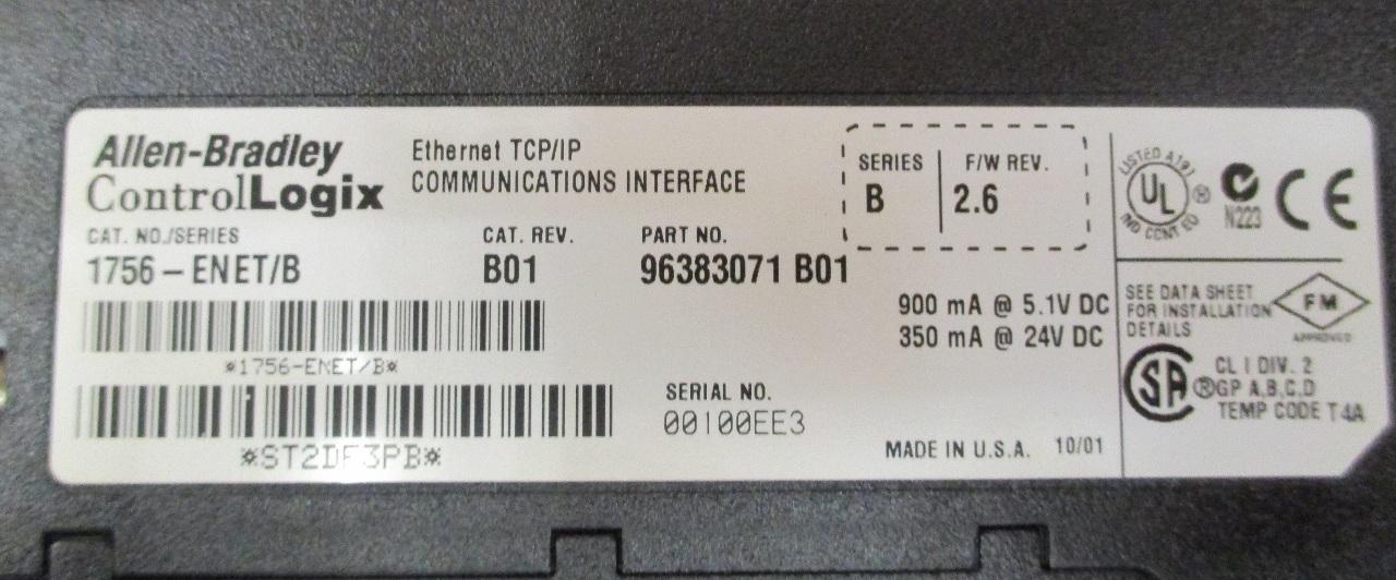 Allen-Bradley 1756-ENET/B Ethernet TCP/IP Communication Interface Series B