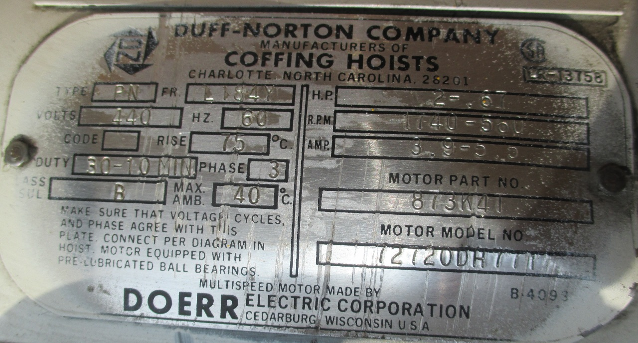 Duff Norton Wiring Diagram Electrical Diagrams Coffing 3 Ton Hoist 72720dh771 Daves Industrial Mitchell