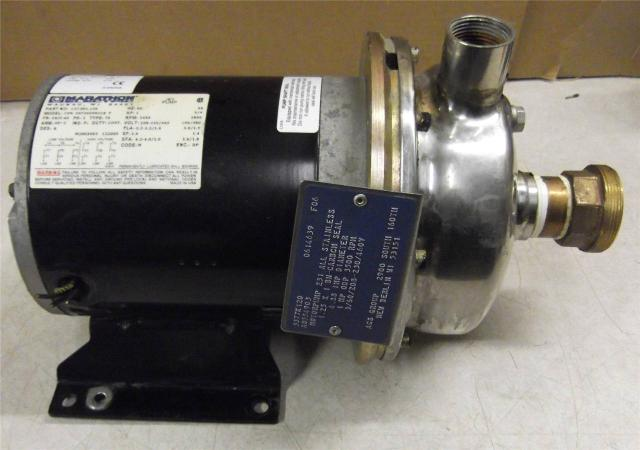 "ACS Motorpump 231 All Stainless Steel 1HP  4.88"" Impellar w/ Marathon Motor"