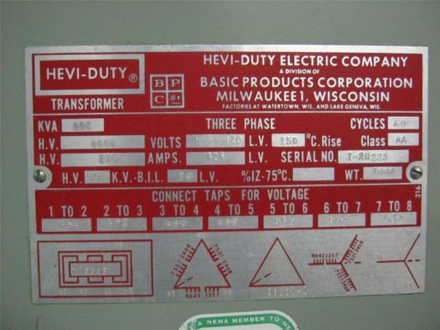 HEVI-DUTY ELECTRIC COMPANY TRANSFORMER 225 KVA 3 PHASE 480 ...