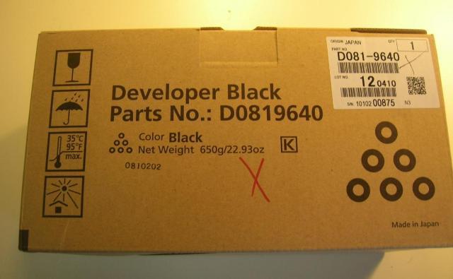 Genuine Ricoh Brand Black Developer D081-9640