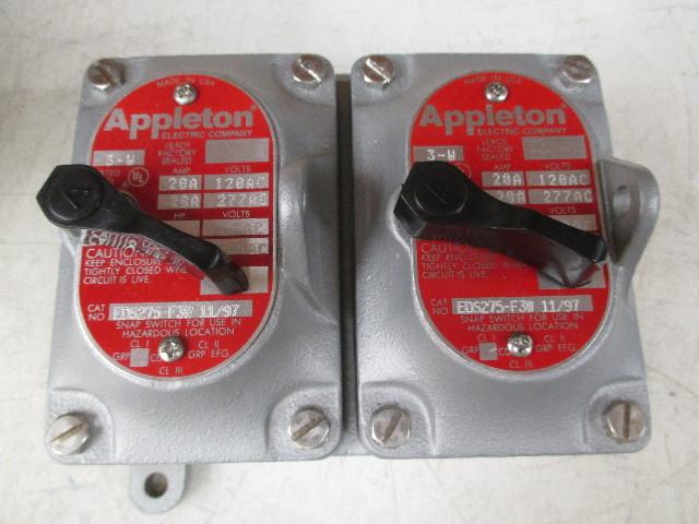 "Appleton EDS275-F3W EDS Series Tumbler Switch Dead-End  3-Way  2 Gang  20 Amp  120-277 VAC  3/4"" Hub"
