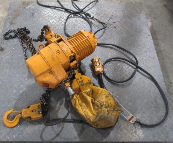 Harrington ESB-885 1 ton 15 ft. Hoist 13 fpm with Yaskawa Electric 3 phase 4 pole Motor