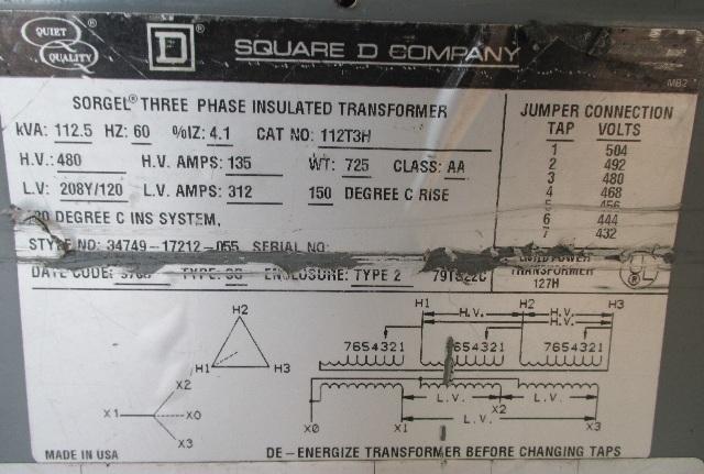 dis6356 sorgel square d 480v transformer 112t3h 8 sorgel square d 112 5 kva transformer 112t3h 480 208y 120 v ebay