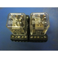 Seimens 24VDC 600 VAC Relay  With Allen Bradley Relay Base Socket ( Lot Of 2 )