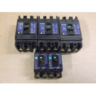 Lot of 5 Mitsubishi (2) NF50-CP, (1) NF30-SP, (2) NF30-CS,  No Fuse Breakers