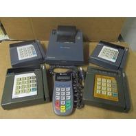 Lot of 6 VeriFone (4) Credit Card Terminals (1) Key Pin Pad and (1) Printer