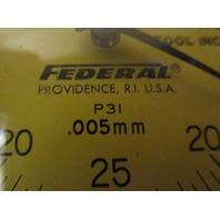 FEDERAL  DIAL INDICATOR GAUGE GAGE P31  .005mm Flat Back