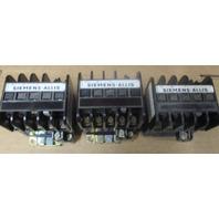 (Lot of 3) 2-Siemens-Allis CAT GC-0 DCO* 27 A ENCL . 18 A OPEN 600 VAC & 1-Siemens XL-0DC0*R  3 POLE
