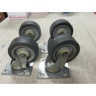 """4"""" SWIVEL PLATE CASTER W/ RUBBER WHEELS (SET OF 4)"""