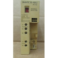 SIEMENS SIMATIC S5 100U PS 931 Part 6ES5 931-8MD11