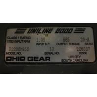 BALDOR  KBM3454 GEAR MOTOR  w/OHIO GEAR REDUCER 132206MQ56 RATIO 20 -A