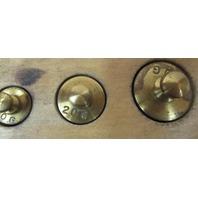 Set of Brass  calibration weights 500 g 200 g 100 g 50 g 20 g 10 g 5 g  2g