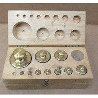 Set of Brass  calibration weights 500 g 200 g 100 g 50 g 20 g 10 g 5 g  2g