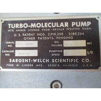 Sargent Welch Aluminum Turbo Molecular Pump 2120S