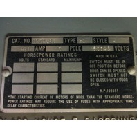 GE  TC72365 disconnect switch Type HD  400A  600V AC