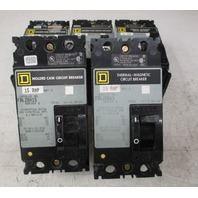 Square D FAL26015 Thermal-Magnetic Circuit Breaker   Series 2 15amp  2 pole (Lot of 5)