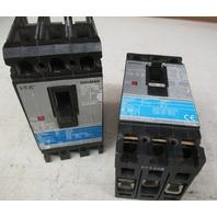 1 SIEMENS C/N: ED63B030 600V 30 AMP and 1 SIEMENS C/N ED43B020 480V 20AMP  Industrial Circuit Breakers (Lot of 2)