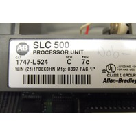 Lot of 2-ALLEN BRADLEY SLC 500 1747-L524 Ser. C Processor FRN:7c *bottom door hinge broken*