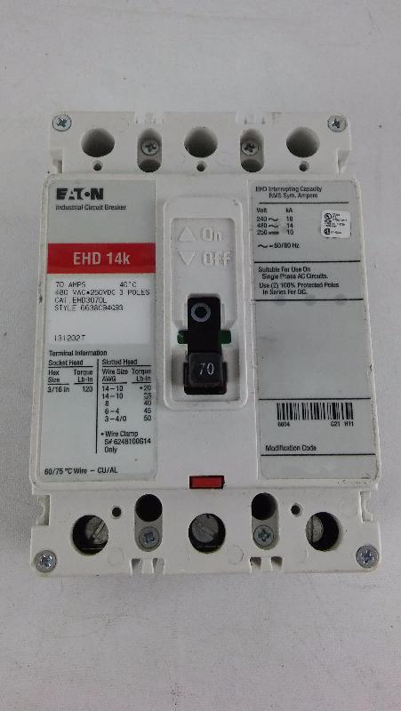EHD3070L Eaton / Cutler Hammer. EHD 14K. 70 AMP