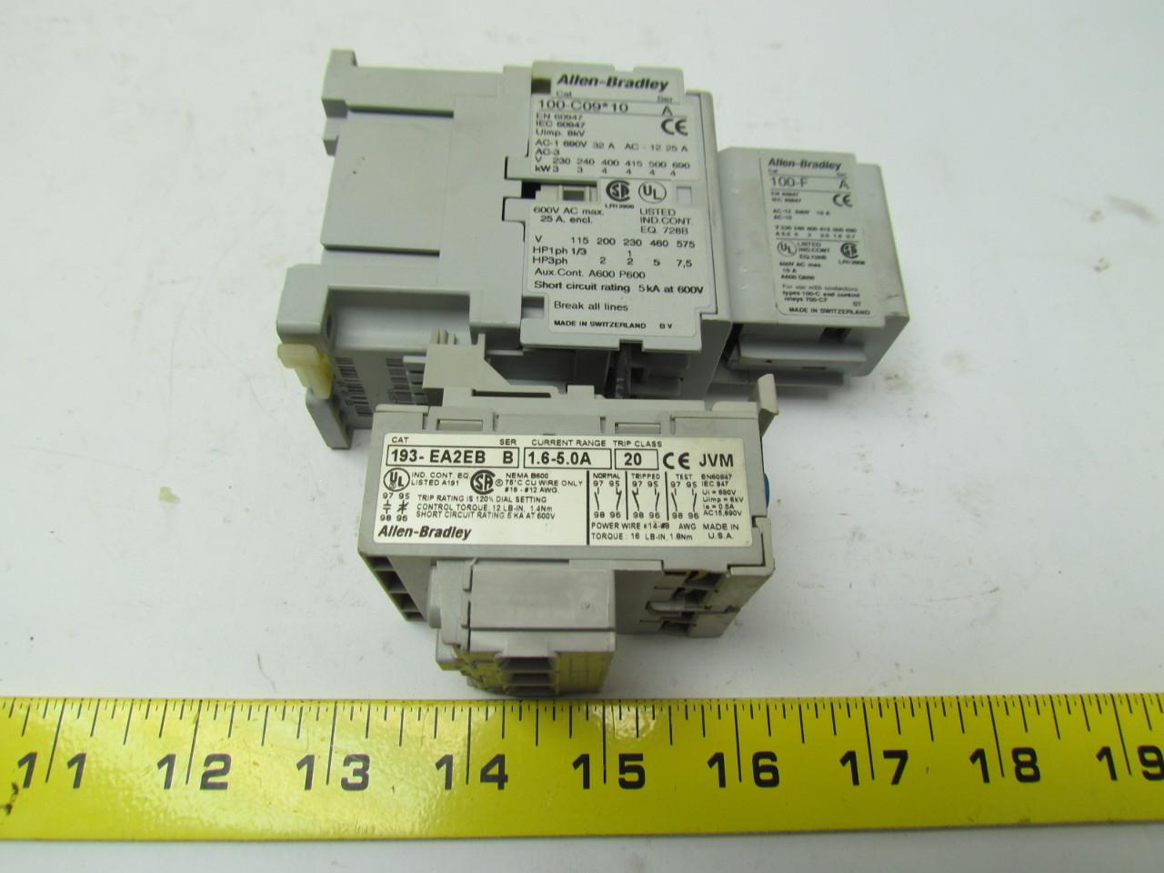 Allen Bradley 100 C0910 3 Pole Contactor W 193 Ea2eb Overload Wiring Store Categories