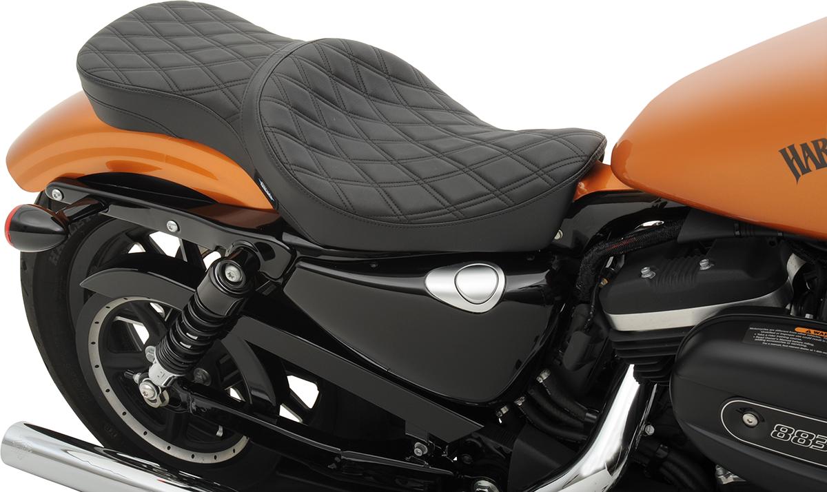 Drag Specialties Black Diamond 2 Up Motorcycle Seat 10 19
