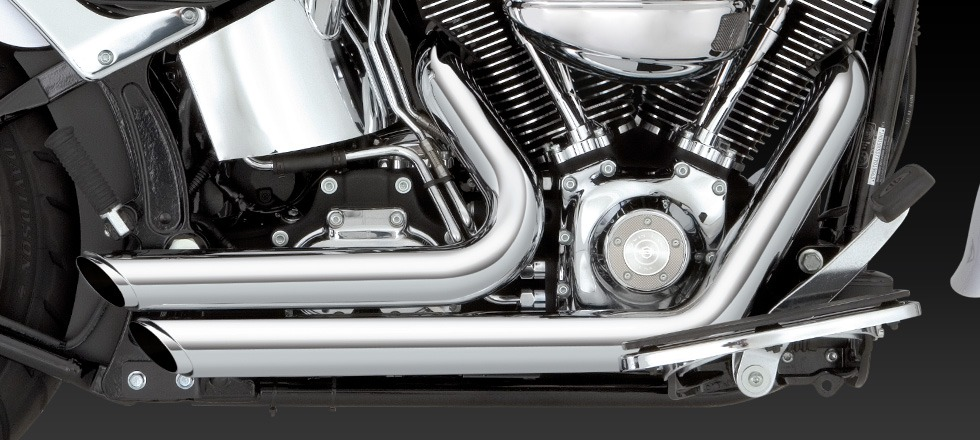 Vance & Hines Shortshots Staggered Chrome Exhaust Harley 86-11 Softail FXS  FLSTN