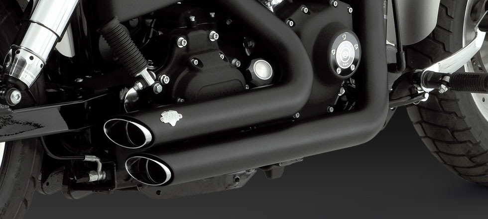 Vance & Hines Shortshots Staggered black exhaust Harley 06-11 Dyna FXD FXDF  FXDW