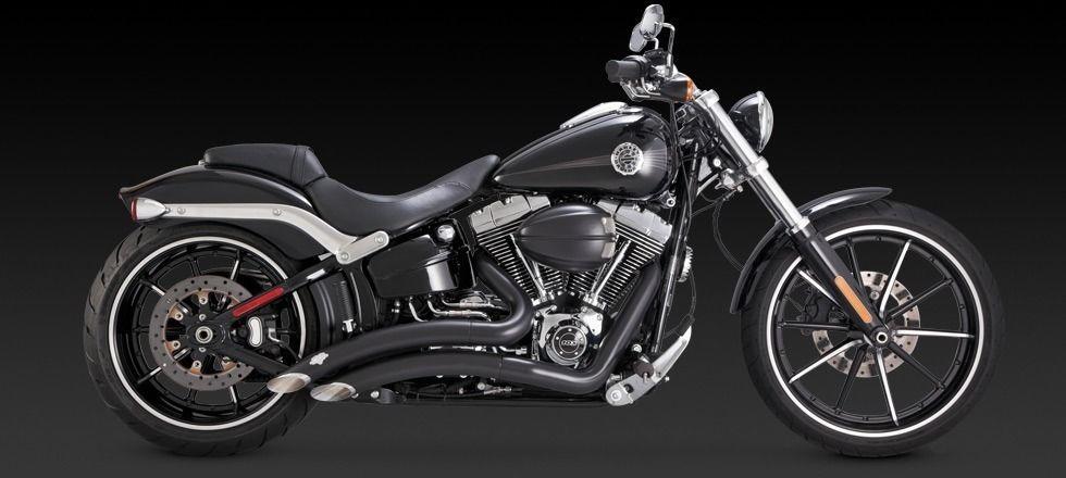Vance & Hines Big Radius black exhaust Harley 13-17 Softail Breakout CVO  FXSB