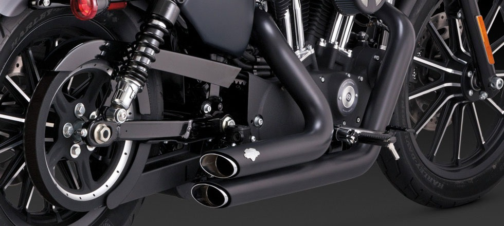 Vance & Hines shortshots staggered black exhaust 14-17 Harley ...