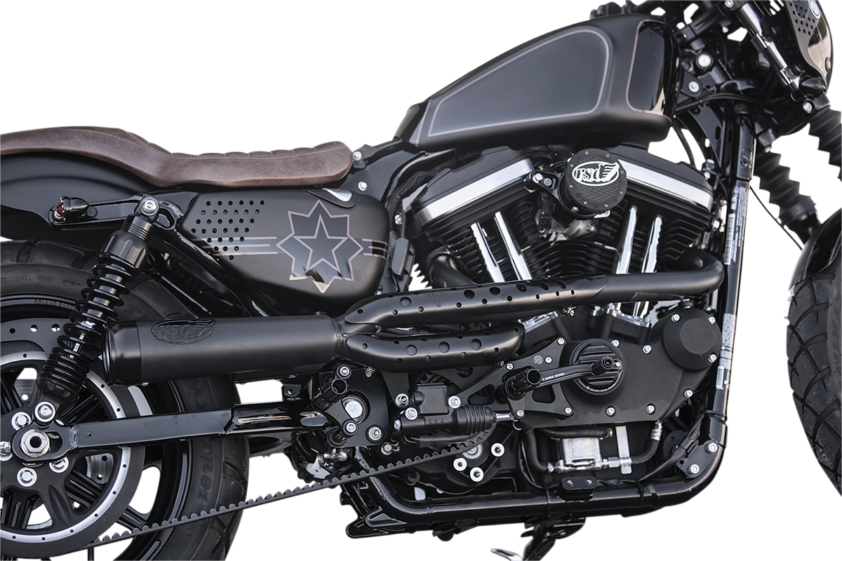 RSD Black Track 2 Into 1 Exhaust System For 04-17 Harley Davidson Sportster  XL