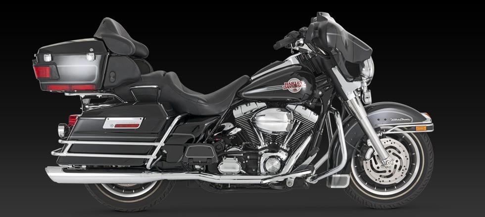 Vance & Hines Twin Slash Round slip on chrome mufflers Harley 95-16 Touring  FLTR