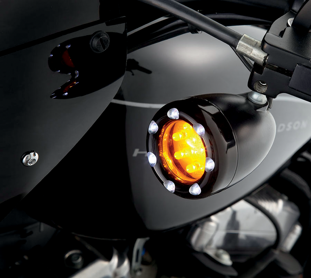 Arlen Ness Black Amber Led Motorcycle Front Turn Signal Kit Harley Signals Davidson