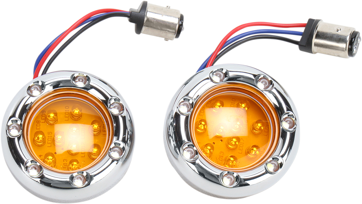 Arlen Ness 1157 Chrome Amber LED Fire Ring Motorcycle Turn Signal Kit Harley