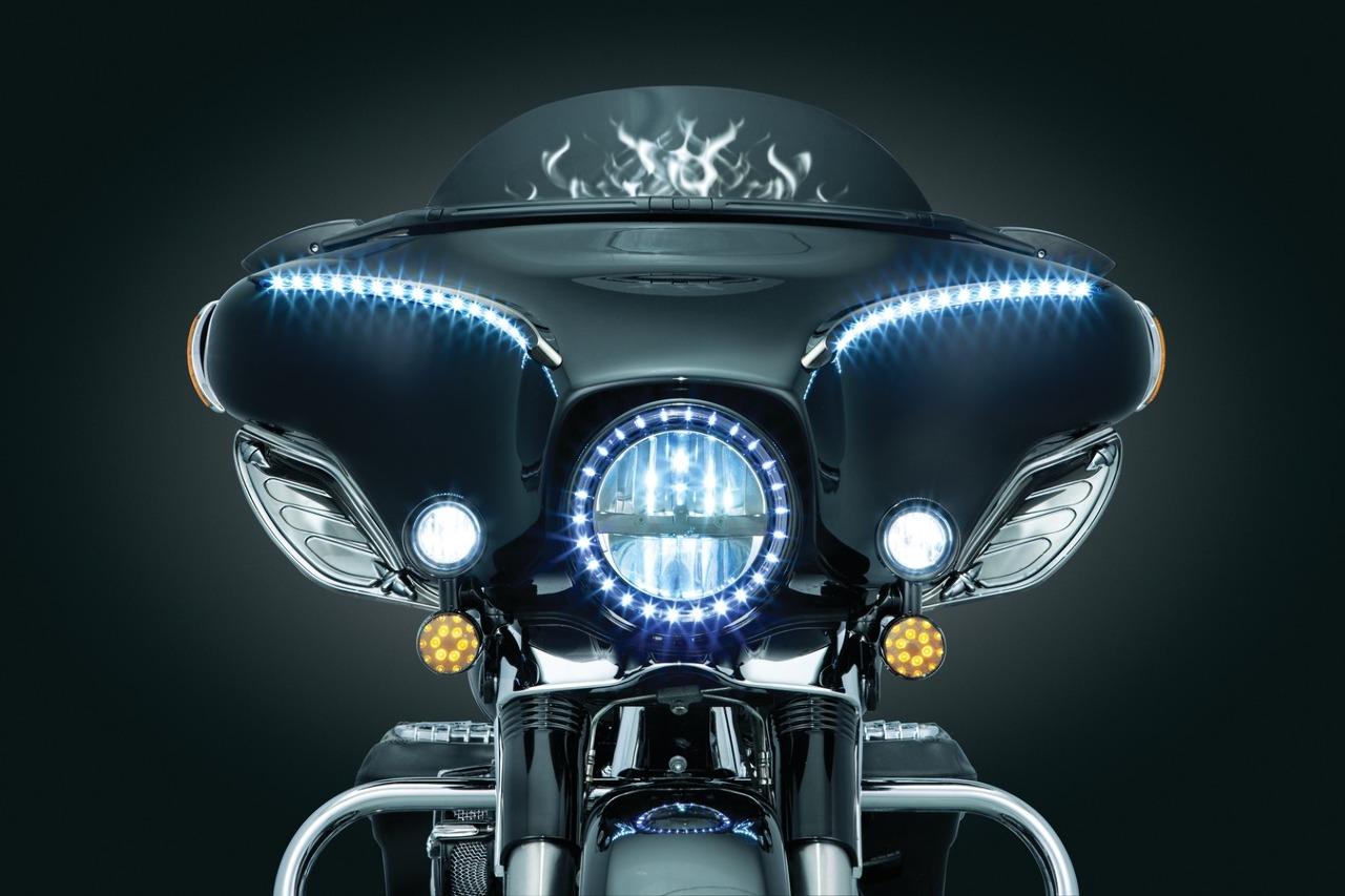 Kuryakyn Led Halo Trim Headlight Ring 83 18 Harley Touring