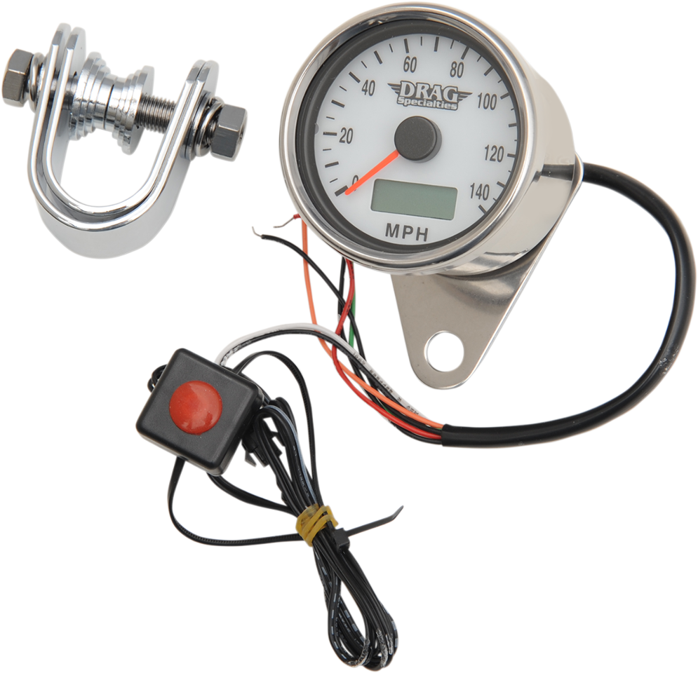 Drag Specialties White Face Speedo Electronic Motorcycle Speedometer for Harley