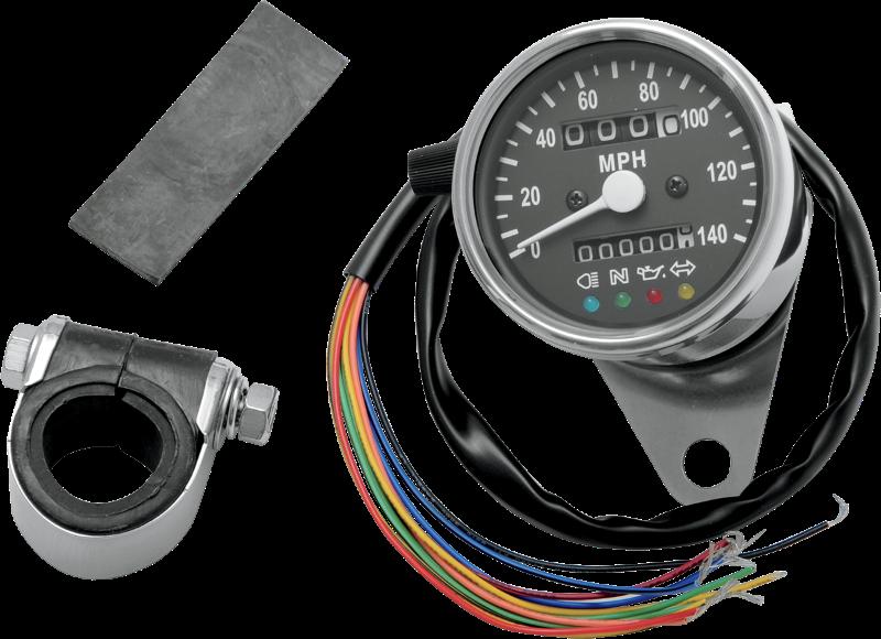 "Drag Specialties 2.4"" Black 2:1 Speedo LED Mechanical Speedometer Harley XL FXD"