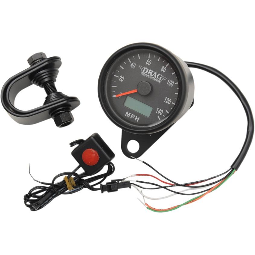 "Drag Specialties Black 2.4"" Electronic Speedo Motorcycle Speedometer Harley"