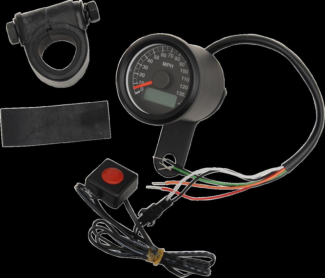 Drag Specialties Black Face Electronic Speedo Motorcycle Speedometer for Harley