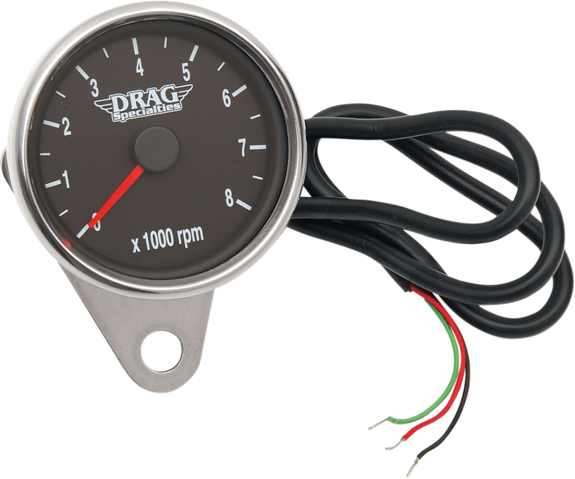 "Drag Specialties Polished Black Face 2.4"" Electronic Tachometer Harley Davidson"