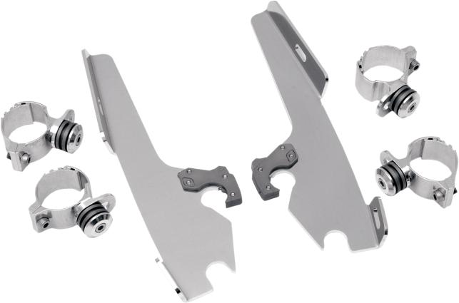 Memphis Shades Polished Trigger Lock Mounting Brackets 80-13 Harley DYNA Softail