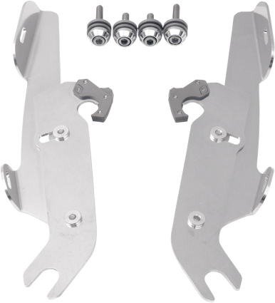 Memphis Shades Polished Trigger Lock Mounting Brackets 87-17 Harley Softail FLST